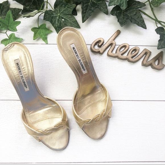 fd24a77709b1b Manolo Blahnik Shoes | Gold Slip On Sandals | Poshmark